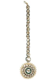 Gold Plated Crystal Borla Tikka by Purab Paschim by Ankit Khullar