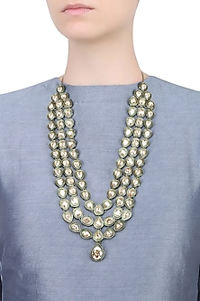 Gold Plated Crystal Mughal Maharani Necklace by Purab Paschim by Ankit Khullar