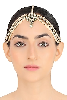 Gold Plated Pearls and Crystals Flower Shaped Matha Patti