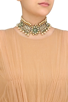 Gold Plated Golden Shadow Swarovski Crystal and Pearl Choker Necklace