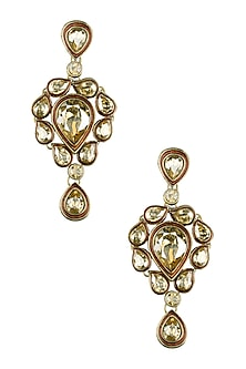 Gold Plated Golden Shadow Swarovski Crystals Earrings by Purab Paschim by Ankit Khullar