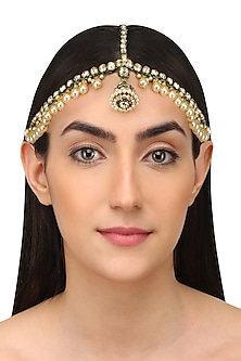Gold Plated Golden Shadow Swarovski Crystals and Pearls Borla Matha Patti by Purab Paschim by Ankit Khullar