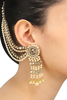 Gold Plated Golden Shadow Swarovski Crystals and Pearls Earrings by Purab Paschim by Ankit Khullar