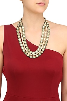 Gold Plated Golden Shadow Swarovski Crystals and Pearls Necklace by Purab Paschim by Ankit Khullar
