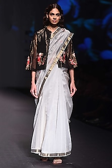 Grey and Black Embroidered Saree with Jacket by Prama by Pratima Pandey