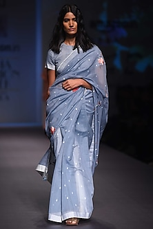Sky Blue and Ivory Handwoven Rain Drops Saree