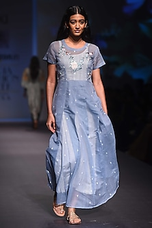 Sky Blue and Ivory Embroidered Kurta with Anarkali and Palazzo Pants Set