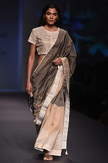 Olive To Beige Ombre Embroidered Saree and Blouse