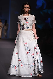 Ivory Embroidered Skirt and Crop Top by Prama by Pratima Pandey