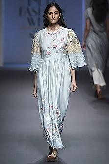 Light Blue Striped Embroidered Dress by Prama by Pratima Pandey