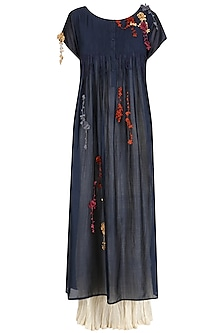 Navy Blue Florating Embroidered Long Dress and Crushed Anarkali Set by Prama by Pratima Pandey