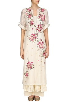 Ivory Floral Embroidered Long Dress, Anarkali and Palazzo Pants Set by Prama by Pratima Pandey