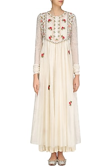 Ivory Floral Thread and Sequins Work Long Dress and Crushed Anarkali Set by Prama by Pratima Pandey