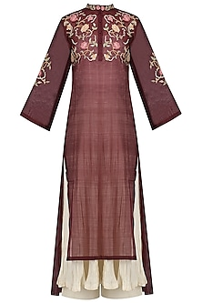 Maroon Embroidered Kurta With Anarkali And Palazzo Pants Set