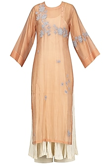 Peach Embroidered Kurta With Anarkali And Palazzo Pants Set
