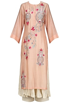 Light Peach Embroidered Kurta With Anarkali And Palazzo Pants Set