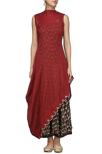 Maroon Drape Printed Anarkali