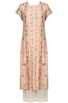 Peach Floral Embroidered Kurta With Anarkali And Palazzo Pants Set