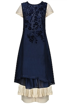 Midnight Blue Embroidered Wrap Dress With Anarkali And Palazzo Pants Set