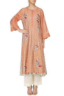 Peach Embroidered Anarkali Palazzo