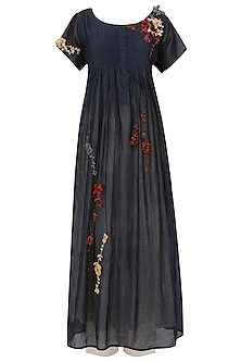 Midnight Blue Embroidered Kurta With Anarkali And Palazzo Pants Set
