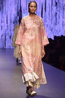 Blush Pink Embroidered & Striped Tunic With Inner by Prama by Pratima Pandey