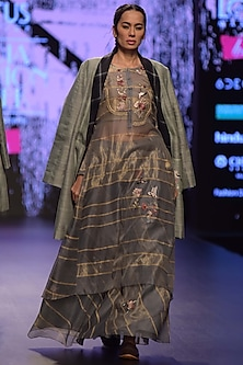 Grey Embroidered & Striped Kurta With Skirt by Prama by Pratima Pandey