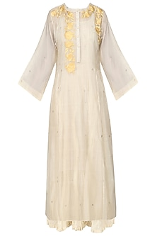 Ivory and Yellow Floral Embroidered Kurta with Crushed Anarkali