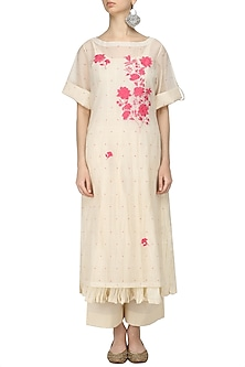 Ivory and Pink Embroidered Kurta, Crushed Inner and Palazzo Pants Set by Prama by Pratima Pandey