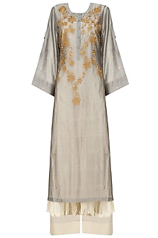 Grey Floral Embroidered Kurta, Beige Crushed Anarkali and Palazzo Pants Set