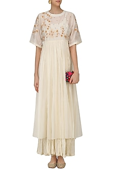 Ivory Embroidered Long Dress with Crushed Anarkali by Prama by Pratima Pandey