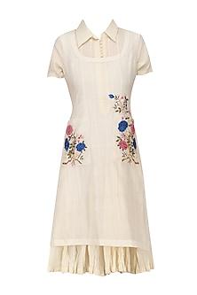 Ivory Embroidered Kurta Shirt and Crushed Tunic Set