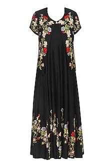 Black Embroidered Dress and Jacket Set by Prama by Pratima Pandey