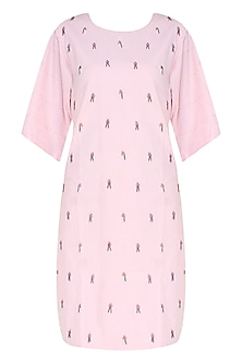 Pink Embroidered Anti-Fit Dress