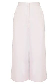 Beige Flared Culotte Pants