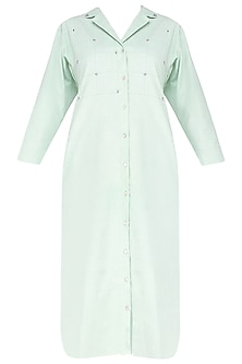 Green Embroidered Shirt Dress