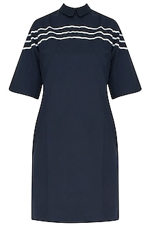 Ink Blue Striped Embroidered Anti-Fit Dress