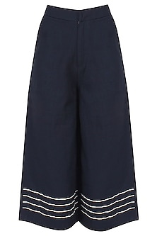 Blue Embroidered Stripes Flared Culotte Pants