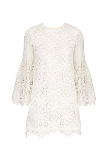 Ivory Bell Sleeves Lace Dress