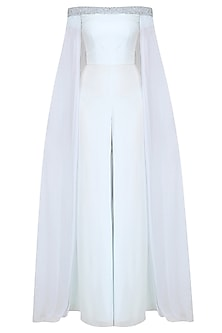 Ice Blue Off Shoulder Embellished Jumpsuit by Pernia Qureshi