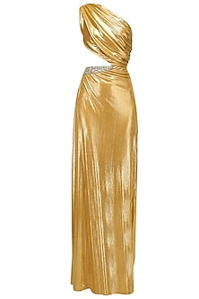 Gold Saree Drape Gown with Cutout
