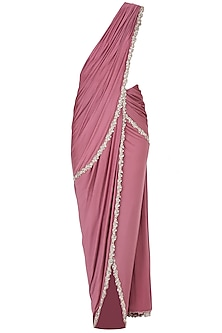 Purple Draped Saree and Ivory Blouse