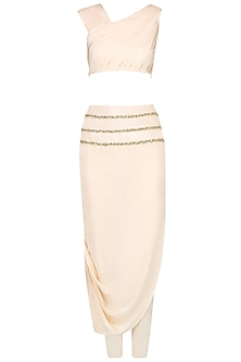Ivory Crop Top and Draped Pants by Pernia Qureshi