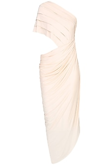 Ivory Draped One Shoulder Dress