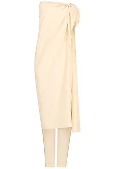 Ivory Wrap Around Dress and Pants by Pernia Qureshi