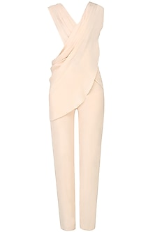 Ivory Draped Jumpsuit with Bustier