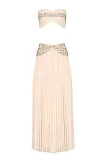 Ivory Embroidered Bustier and Pleated Skirt
