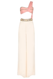 Summer Rose Embroidered Bustier with Ivory Palazzos by Pernia Qureshi