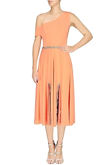 Orange Off Shoulder Dress by Pernia Qureshi