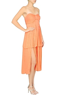 Orange Pleated Layer Dress by Pernia Qureshi